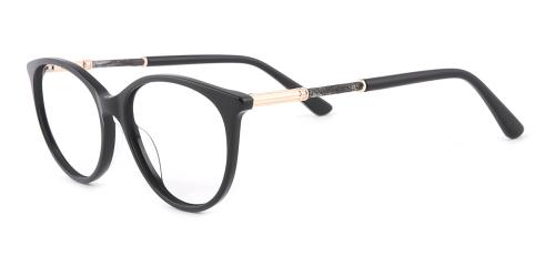 Black Oval Unique Full-rim Acetate Medium Glasses